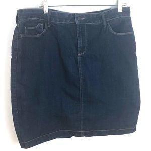 NYDJ Dark Blue Denim 5 Pocket Jean Skirt 16P